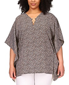 Plus Size Printed Ring-Neck Top