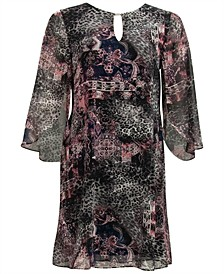 Tapestry-Print Kimono-Sleeve Dress