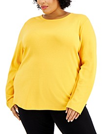 Plus Size Solid Long-Sleeve Crewneck Top, Created for Macy's
