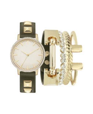 Women's Analog Olive Strap Watch 34mm with Gold-Tone Metal Bracelets Set