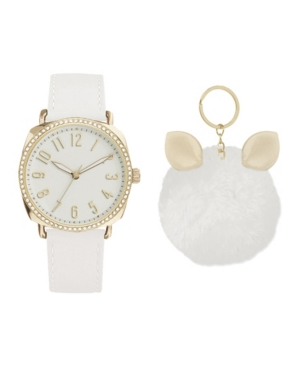 Women's Analog White Leather Jeweled Strap Watch 38mm with Cute Fluff Ball Charm Key Chain Cubic Zirconia Gift Set