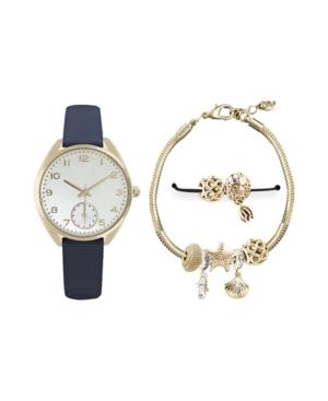 Women's Analog Navy Strap Watch 38mm with Glam Seashells Bracelets Cubic Zirconia Gift Set