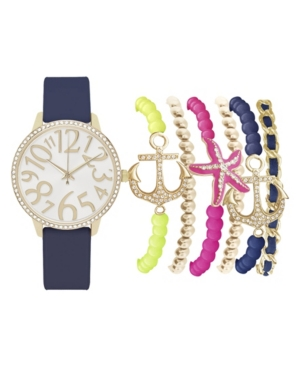 Women's Analog Navy Strap Watch 36mm with Colorful Nautical Bracelets Set