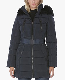 Faux-Fur-Trim Hooded Belted Puffer Coat