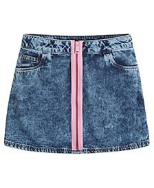 Big Girls Acid Washed Exposed Zipper Denim Skirt