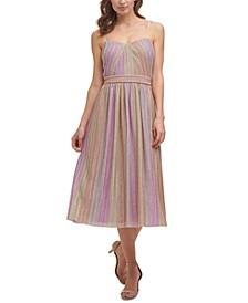 Metallic-Stripe Jersey Midi Dress