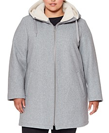 Plus Size Fleece-Lined Hooded Coat
