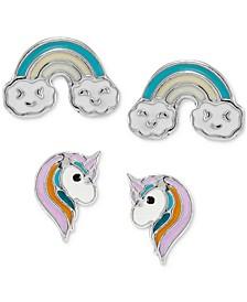 Children's 2-Pc. Set Enamel Rainbow & Unicorn Stud Earrings in Sterling Silver