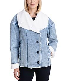 Faux-Shearling Denim Coat