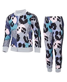 Little Girls Zip Front Printed Tricot Jacket and Jogger, 2 Piece Set