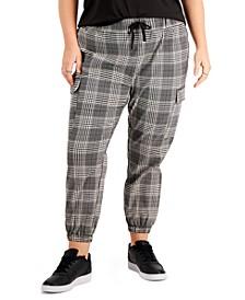 Trendy Plus Plaid Drawstring-Tie Pull-On Pants
