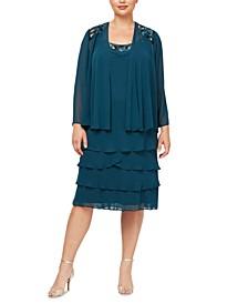 Plus Size 2-Pc. Embellished Jacket & Ruffled Shift Dress