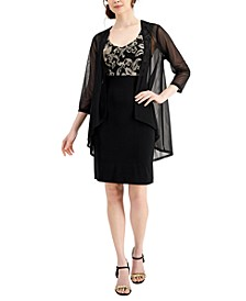 Metallic-Top Dress & Sheer Jacket