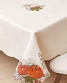 "Pumpkin Farm Cutwork Fabric Tablecloth, 60"" x 84"""