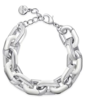 Silver-Tone & White Acrylic Large Link Bracelet