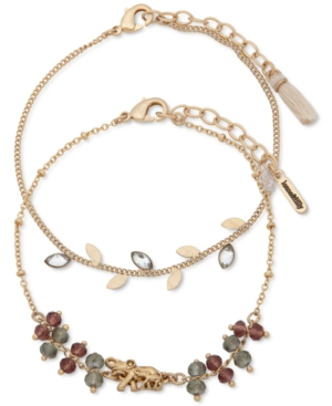 Gold-Tone 2-Pc. Set Crystal & Bead Elephant Ankle Bracelets