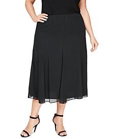 Plus Size Chiffon Midi Skirt