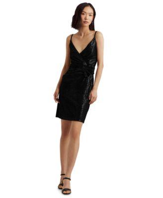 로렌 랄프로렌 Lauren Ralph Lauren Sequined Sleeveless Dress,Black