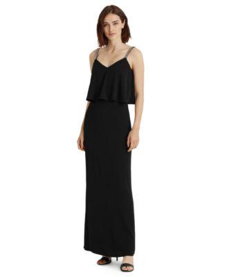 로렌 랄프로렌 Lauren Ralph Lauren Georgette Column Gown,Black