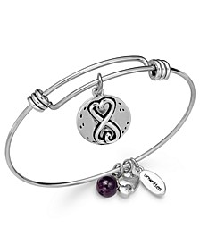 Sisters Infinity Charm and Amethyst (8mm) Bangle Bracelet in Silver-Plated Stainless Steel