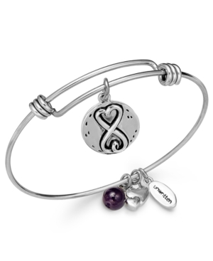 Unwritten Sisters Charm and Amethyst (8mm) Bangle Bracelet in Silver-Plated Stainless Steel
