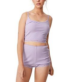 Women's Rib Lace Sleep Shorts