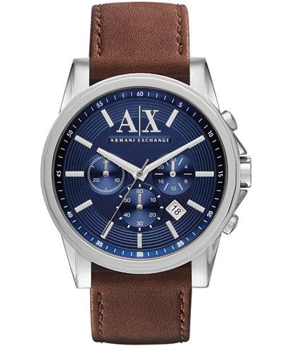 A X Armani Exchange Men's Chronograph Brown Leather Strap Watch 45mm AX2501