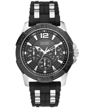 Guess Men's Black Silicone and Stainless Steel Bracelet Watc