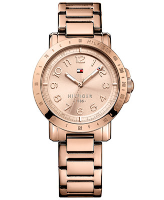 tommy hilfiger women 39 s rose gold tone stainless steel bracelet watch 38mm 1781396 watches. Black Bedroom Furniture Sets. Home Design Ideas