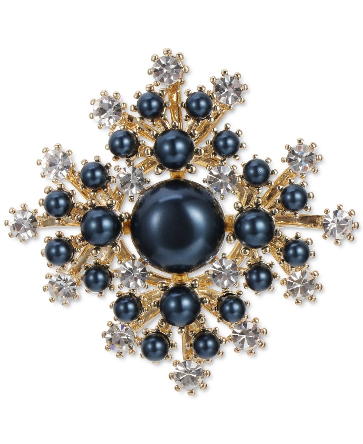 Charter Club Gold-Tone Crystal & Imitation Pearl Starburst Pin, Created for Macy's