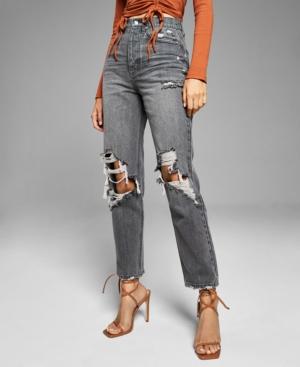 Women's Destructed Straight-Leg Jeans