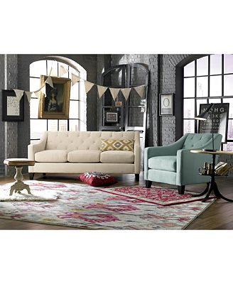 chloe velvet tufted sofa living room furniture collection, created