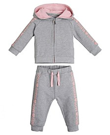 Baby Girls Eco French Terry Hoodie and Jogger Pants, 2 Piece Set