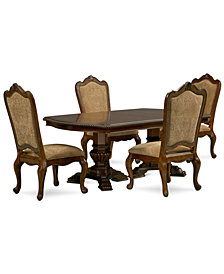 Lakewood 5-Piece Dining Room Furniture Set (Double Pedestal Dining Table & 4 Side Chairs)