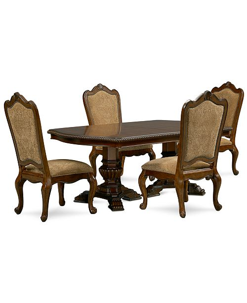 Furniture Lakewood 5-Piece Dining Room Furniture Set (Double Pedestal Dining Table & 4 Side Chairs)