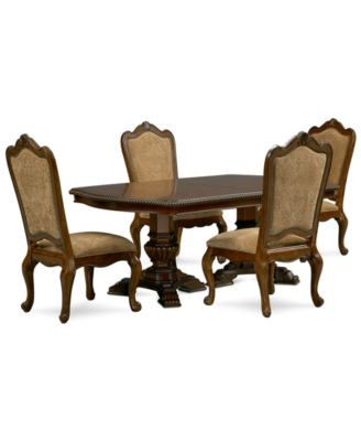 Lakewood 5 Piece Dining Room Furniture Set (Double Pedestal Dining Table U0026  4 Side