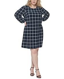 Plus Size Grid-Print Shift Dress