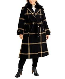 Plus Size Plaid Faux-Fur-Collar Maxi Wrap Coat