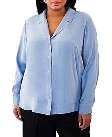 Plus Size Notched Collar Blouse