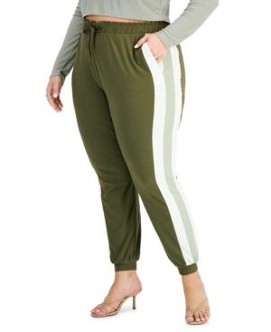 Trendy Plus Size Side-Striped Jogger Pants