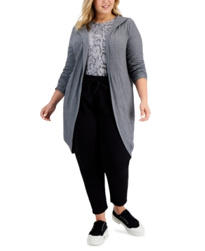 Trendy Plus Size Yummy Hooded Cardigan