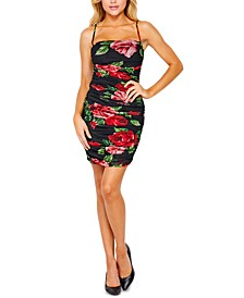 Juniors' Floral-Print Ruched Tube Dress