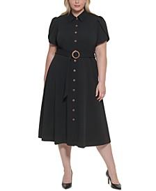 Plus Size Tulip-Sleeve Belted Shirtdress