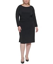 Plus Size Ruched Midi Sheath Dress