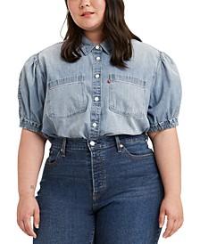 Trendy Plus Size Alice Cotton Denim Blouse