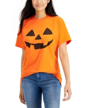 Juniors' Pumpkin Face Graphic T-Shirt