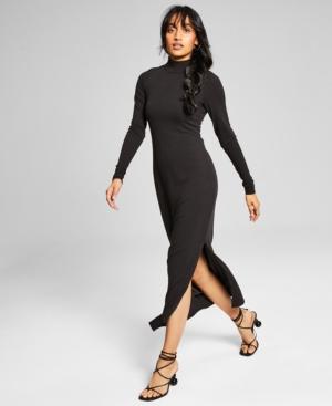 Women's Ribbed High-Neck Midi Dress