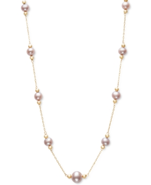 """Cultured Freshwater Pearl (5 & 8mm) 18"""" Collar Necklace in 14k Gold"""