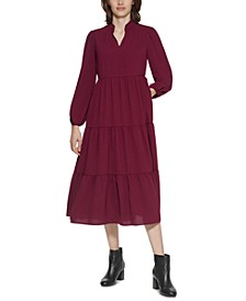 Petite Tiered A-Line Midi Dress
