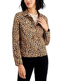 Leopard-Print Denim Jacket, Created for Macy's